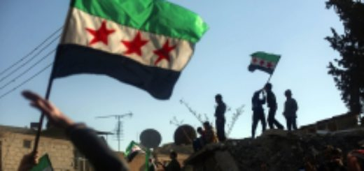 Douma residents rally in support of the opposition fighters of the Free Syrian Army