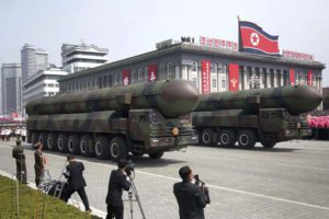 Missiles are paraded across Kim Il Sung Square during a military parade on Saturday, April 15, 2017, in Pyongyang, North Korea to celebrate the 105th birth anniversary of Kim Il Sung, the country's late founder and grandfather of current ruler Kim Jong Un. (AP Photo/Wong Maye-E)