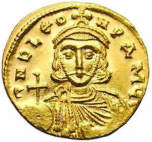 През 717 г. Лъв III се обръща за военна помощ към българския хан. Портрет на императора от монета, златен солид