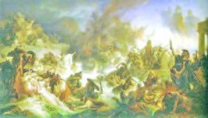 Картина, вдъхновена от битката при Саламин през септември 480 г. пр.Хр.  Художник Вилхелм фон Каулбах, XIX век