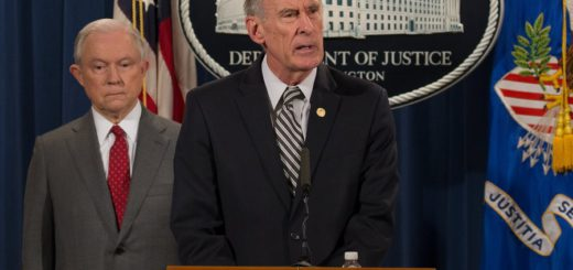 epa06124545 Director of National Intelligence Dan Coats (C) speaks at a briefing on leaks of classified material threatening national security at the Department of Justice in Washington, DC, USA, 04 August 2017.  Attorney General Jeff Sessions (C-L) and Counter Intelligence and Security Center Director William Evanina (R) were on hand to speak to the media.  EPA/TASOS KATOPODIS