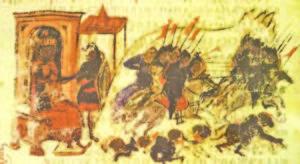 Българската конница в атака. Фрагмент от средновековна миниатюра