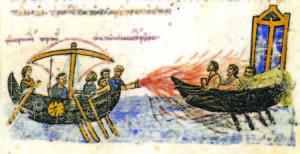 Имперски кораб стреля с гръцки огън при въстанието на Тома Славянина (821–823 г.). Миниатюра от Мадридския препис (XII век) на хрониката на Йоан Скилица.