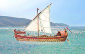 Дромон е наричан най-ефикасният кораб в бойния флот на Византия през V-XII век. Реконструкция в Уикипедия по картина на Рафаел Монлеон