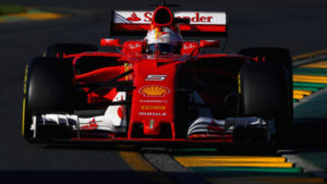 MELBOURNE, AUSTRALIA - MARCH 26:  Sebastian Vettel of Germany driving the (5) Scuderia Ferrari SF70H on track during the Australian Formula One Grand Prix at Albert Park on March 26, 2017 in Melbourne, Australia.  (Photo by Clive Mason/Getty Images)