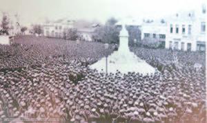 Общата снимка – Плевен-1 октомври 1915 г. – в деня на обявяване влизането на България в Първата световна война.  Репродукция Красимир Тодоров