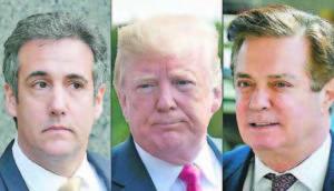 Делата срещу бившите ключови сътрудничи на Тръмп - Майкъл Коен (вляво) и Пол Манафорт затягат политическата примка около президента