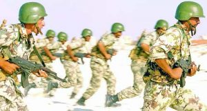 Egyptian Army Soldiers armed with 7.62mm AK-47 assault rifles practice their beach assault techniques at El Omayed, Egypt as US, Spanish and Egyptian Forces conduct amphibious operations, during Exercise BRIGHT STAR 01/02. BRIGHT STAR 01/02 is a multinational exercise involving more than 74,000 troops from 44 countries that enhances regional stability and military-to-military cooperation among our key allies, and our regional partners. It prepares US Central Command to rapidly deploy and employ the forces needed to deter aggressors and, if necessary, fight and win side-by-side with our allies and regional partners.