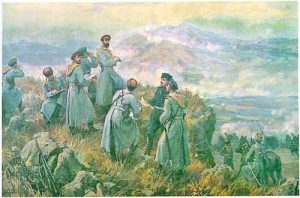Княз Александър I Батенберг с щаба си наблюдава боя при Драгоман