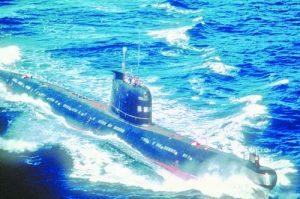 A Soviet-built Cuban Foxtrot Class patrol submarine underway.