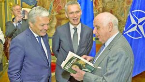 Event at the Egmont Palace in Brussels, organized by the Belgian Ministry of Foreign Affairs to commemorate the 50th anniversary of the publication of the Harmel Report. Didier Reynders, Minister of Foreign Affairs of Belgium with NATO Secretary General Jens Stoltenberg and Count Etienne Davignon, former attache of former Belgian Prime Minister Pierre Harmel