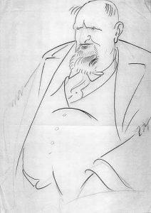 Александър Цанков, изобразен шаржово от Александър Добринов