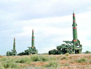 Several Pershing II missiles are prepared for launching at the McGregor Range.