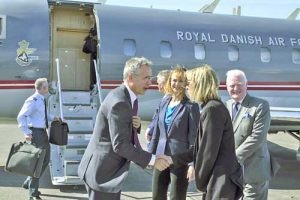 NATO Secretary General Jens Stoltenberg welcomed upon his arrival in Iceland