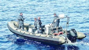 Croatian boarding team aboard a rigid-hulled inflatable boat at sea, during Operation Sea Guardian. NATO Operation Sea Guardian is a standing Maritime Security Operation to deter and counter terrorism and other threats to Allied maritime security across the Mediterranean Sea and to provide maritime situational awareness.