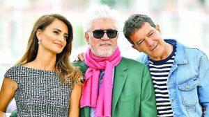 Педро Алмодовар с двама от най-любимите си испански актьори Пенелопе Крус и Антонио Бандерас