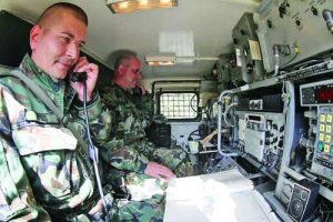 Сержант Георги Дяков на работното си място в радиостанцията