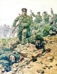 Прочутата картина на Вешин 'Атака' ('На нож'). Боецът в центъра атакува с 'Манлихер' 1895, а пушката долу на преден план е 'Маузер' (на въоръжение в турската армия).