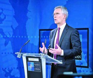 Генералният секретар на НАТО Йенс Столтенберг дава виртуална пресконференция