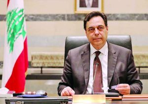 Image: Lebanon's PM Diab is pictured at the government palace in Beirut