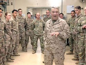 Marine General Kenneth McKenzie speaks with U.S. troops while visiting Forward Operating Base Fenty in Jalalabad, Afghanistan