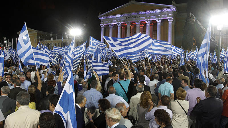 New Democracy (ND) party leader Antonis Samaras campaigning in Athens