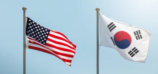 American flag, south korean flag