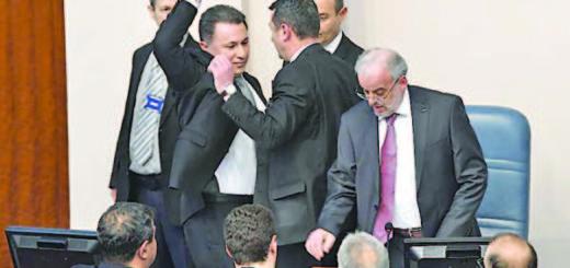 Nikola Gruevski (L) during the parliament session in Skopje,