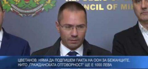"""Цветанов: Няма да подпишем пакта на ООН за бежанците, нито """"Гражданската отговорност"""" ще е 1000 лева"""