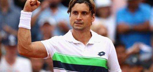 David Ferrer of Spain celebrates victory