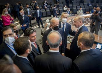 NATO Secretary General Jens Stoltenberg with Joe Biden (President of the United States of America) and Recep Tayyip Erdoğan  (President, Turkey)