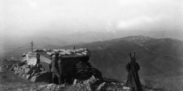 A Bulgarian telephone station with trench periscope observing the enemy's position at the Doiran front, March 1917 (German Official Photograph/National Archives)